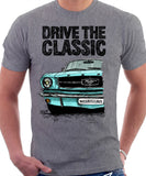 Drive The Classic Ford Mustang. T-shirt in Heather Grey Colour