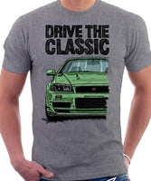 Drive The Classic Nissan Skyline R34. T-shirt in Heather Grey Colour