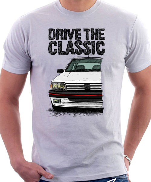 Drive The Classic Peugeot 205 GTI. T-shirt in White Colour