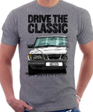 Drive The Classic Saab 900 Early Model. T-shirt in Heather Grey Colour