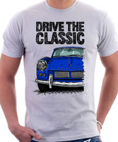 Drive The Classic Triumph Spitfire Mk1 Hardtop. T-shirt in White Colour
