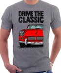 Drive The Classic Triumph Spitfire Mk1 Softtop. T-shirt in Heather Grey Colour