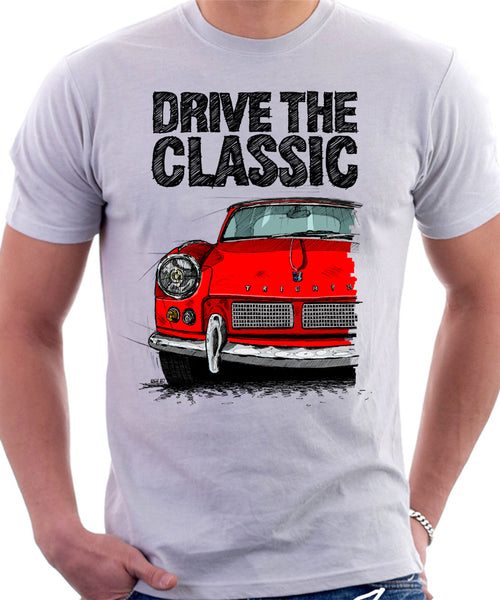 Drive The Classic Triumph Spitfire Mk1 Softtop. T-shirt in White Colour
