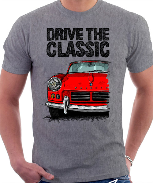 Drive The Classic Triumph Spitfire Mk2 Softtop. T-shirt in Heather Grey Colour