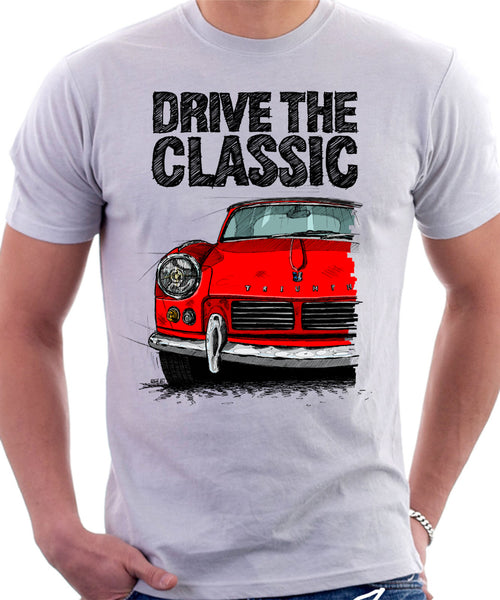 Drive The Classic Triumph Spitfire Mk2 Softtop. T-shirt in White Colour