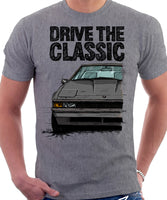Drive The Classic Toyota Supra Mk2 Early Model. T-shirt in Heather Grey Colour
