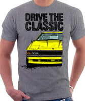 Drive The Classic Toyota Supra Mk2 Late Model. T-shirt in Heather Grey Colour