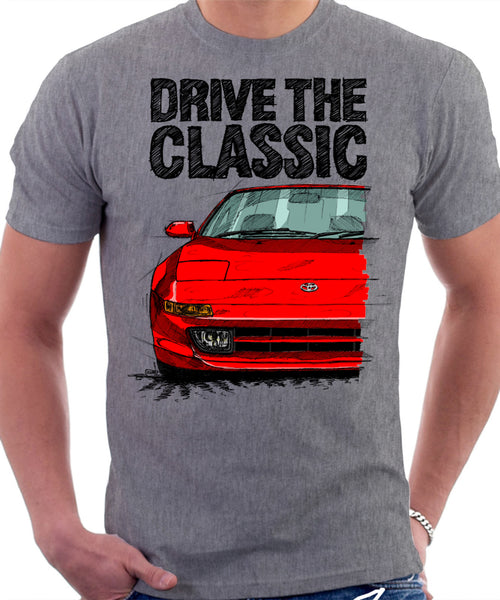 Drive The Classic Toyota MR2 Mk2. T-shirt in Heather Grey Colour