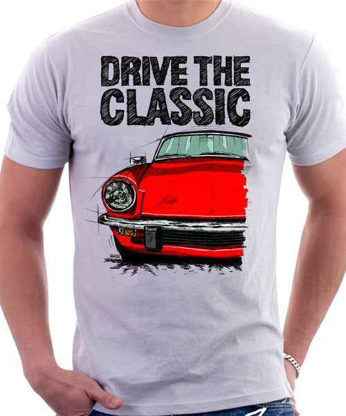 Drive The Classic Triumph Spitfire Mk4 Softtop. T-shirt in White Colour