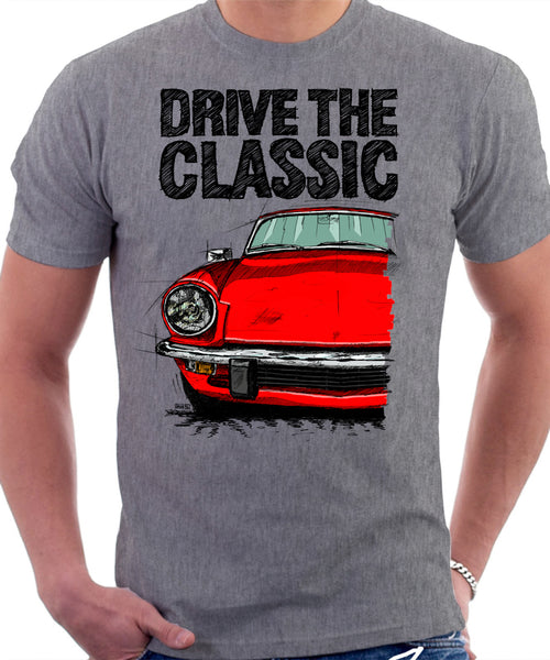 Drive The Classic Triumph Spitfire Mk4 Hardtop. T-shirt in Heather Grey Colour