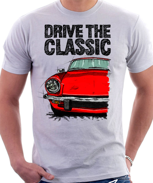 Drive The Classic Triumph Spitfire Mk4 Hardtop. T-shirt in White Colour
