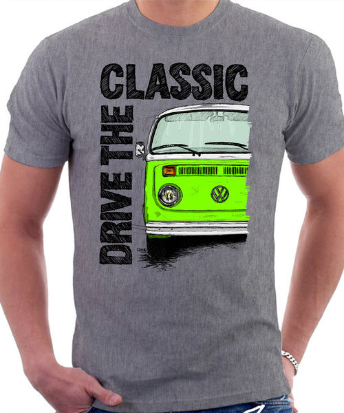Drive The Classic VW T2 Baywindow Late Model . T-shirt in Heather Grey Colour
