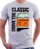 Drive The Classic VW T2 Baywindow Late Model . T-shirt in White Colour