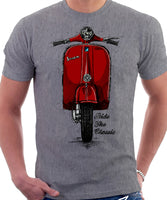 Ride The Classic Vespa. T-shirt in Heather Grey Colour