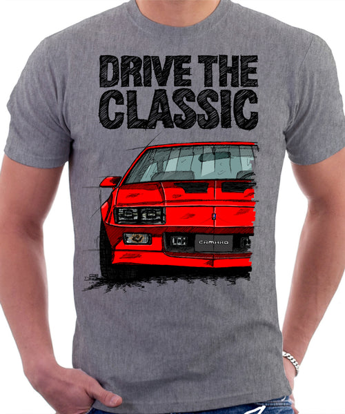 Drive The Classic Chevrolet Camaro 3 Gen Iroc-Z. T-shirt in Heather Grey Colour