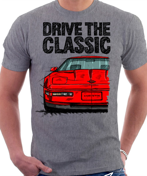 Drive The Classic Chevrolet Corvette C4 Late Model. T-shirt in Heather Grey Colour