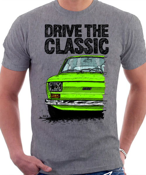 Drive The Classic Fiat 126 Early Model. T-shirt in Heather Grey Colour
