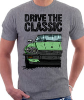 Drive The Classic Jaguar XJ-S Early Model Round Headlights. T-shirt in Heather Grey Colour