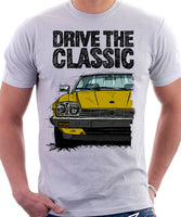 Drive The Classic Jaguar XJ-S Late Model Round Headlights. T-shirt in White Colour