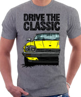 Drive The Classic Jaguar XJ-S Late Model Round Headlights. T-shirt in Heather Grey Colour