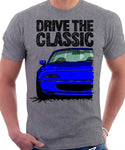 Drive The Classic Mazda MX5 1st Generation. T-shirt in Heather Grey Colour
