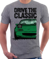 Drive The Classic Mazda MX5 1st Generation Lights Open. T-shirt in Heather Grey Colour