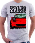 Drive The Classic Mazda MX5 1st Generation Lights Open. T-shirt in White Colour