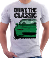 Drive The Classic Mazda MX5 1st Generation. T-shirt in White Colour