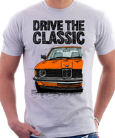 Drive The Classic BMW E21 Single Headlights. T-shirt in White Colour