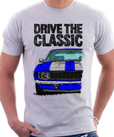 Drive The Classic Chevrolet Camaro SS 1969. T-shirt in White Color