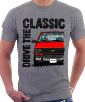 Drive The Classic Chevrolet Astro 1 Chrome Bumper. T-shirt in Heather Grey Colour