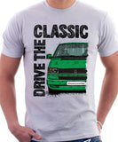 Drive The Classic VW Transporter T4 Late Model Colour Bumper . T-shirt in White Colour