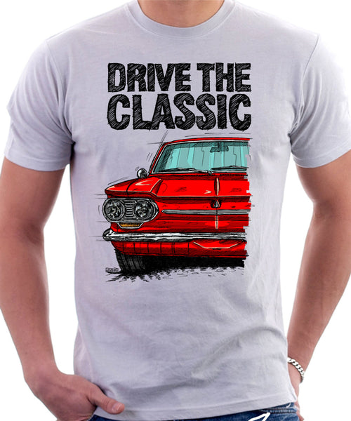 Drive The Classic Chevrolet Corvair 1st Gen 1963. T-shirt in White Color