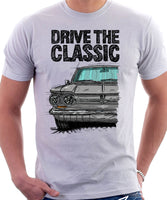 Drive The Classic Chevrolet Corvair 1st Gen 1964. T-shirt in White Color