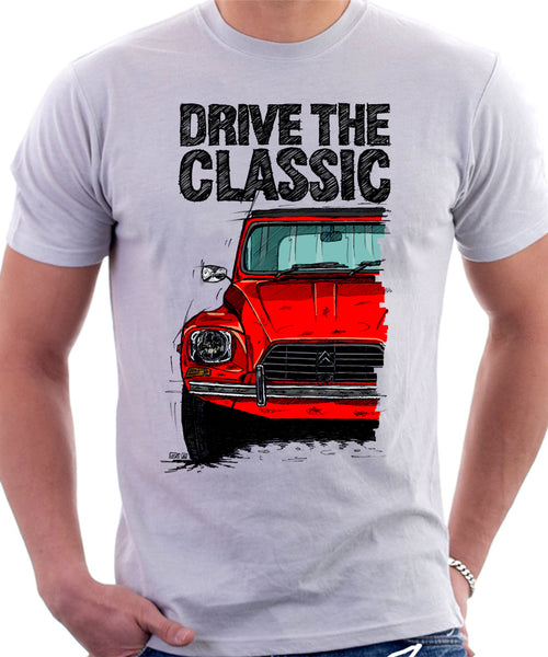 Drive The Classic Citroen Dyane Late Model (Black Roof). T-shirt in White Colour