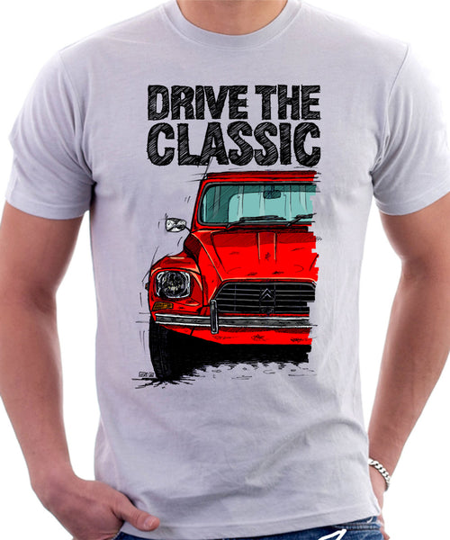 Drive The Classic Citroen Dyane Late Model. T-shirt in White Colour