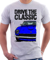 Drive The Classic Datsun 240Z/260Z. T-shirt in White Colour