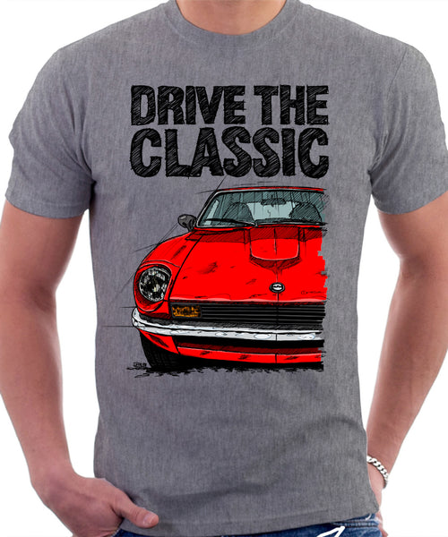 Drive The Classic Datsun 260Z/280Z. T-shirt in Heather Grey Colour