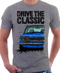 Drive The Classic Datsun 510/1600 Grille Version 1. T-shirt in Heather Grey Colour