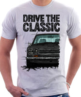 Drive The Classic Datsun 510/1600 Grille Version 1. T-shirt in White Colour