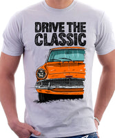 Drive The Classic Ford Anglia 105E. T-shirt in White Colour