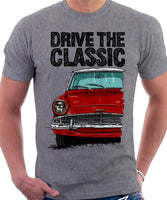 Drive The Classic Ford Anglia 105E (White Roof). T-shirt in Heather Grey Colour