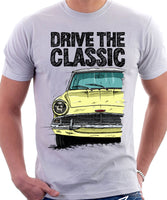 Drive The Classic Ford Anglia 105E (White Roof). T-shirt in White Colour