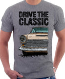 Drive The Classic Ford Cortina Mk1 Late Model. T-shirt in Heather Grey Colour