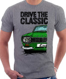 Drive The Classic Ford Escort Mk1 Sport Bumper Rectangular Headlights. T-shirt in Heather Grey Colour
