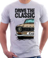 Drive The Classic Ford Escort M1 Round Headlights. T-shirt in White Colour