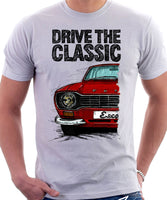 Drive The Classic Ford Escort Mk1 Sport Bumper Round Headlights. T-shirt in White Colour