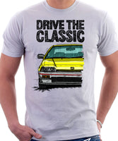 Drive The Classic Honda CRX 1st Gen Early Model. T-shirt in White Color.