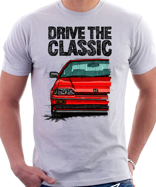 Drive The Classic Honda CRX Si 1st Gen . T-shirt in White Color.