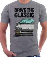 Drive The Classic Honda CRX 2nd Gen JDM. T-shirt in Heather Grey Color.